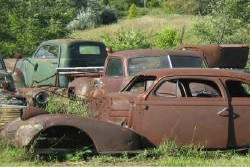 rusty antique cars